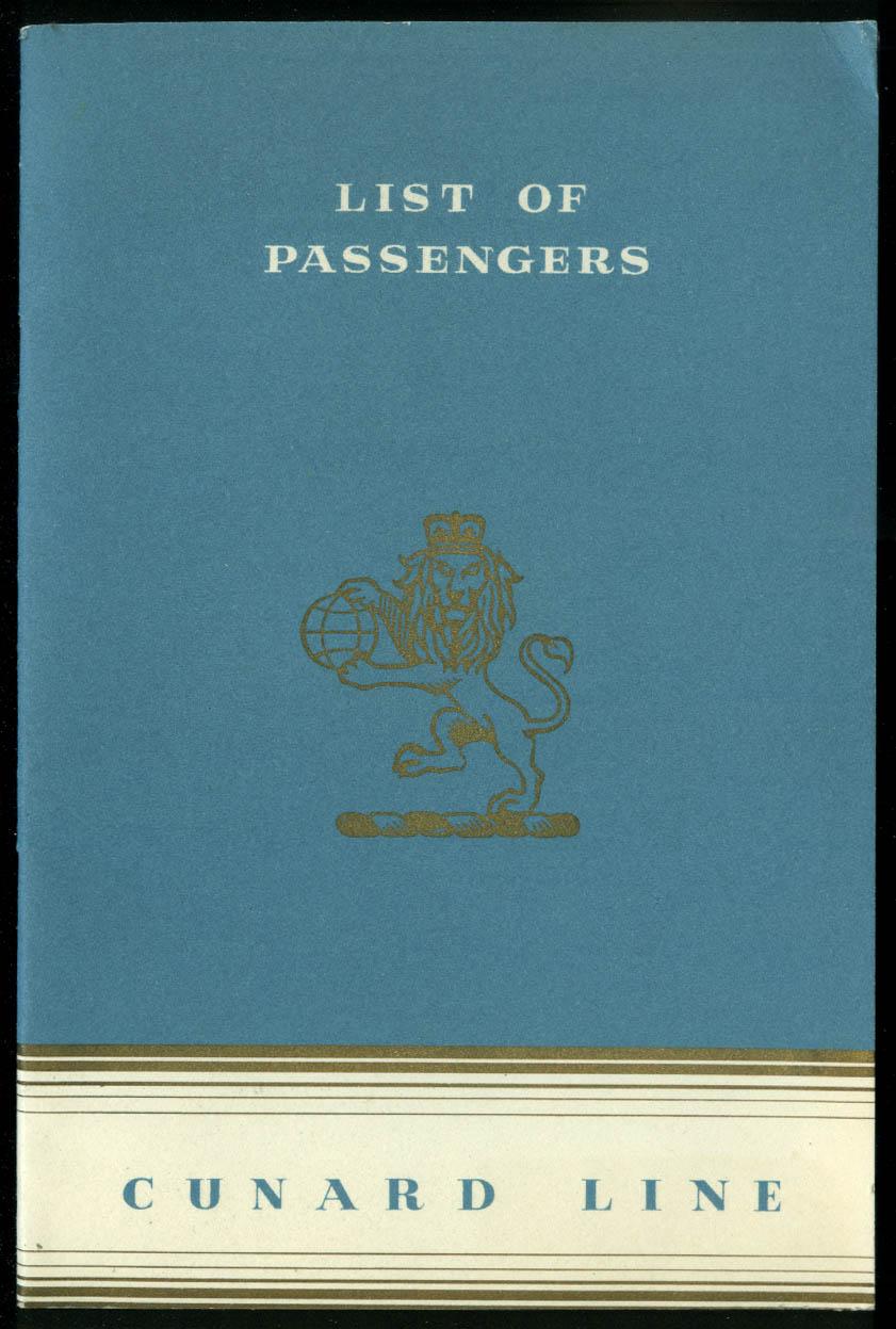 Cunard White Star R M S Queen Elizabeth Passenger List Tourist NY-UK 6/22/1951