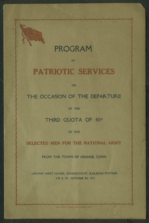 Patriotic Services Departure 3rd Quota U S Army from Orange CT program 1917