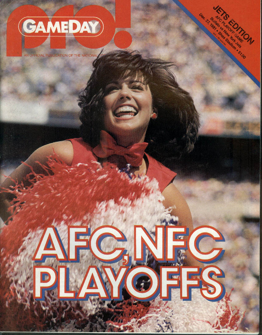 PRO! GameDay NFL Program Magazine Bills at Jets AFC Playoff 12/27 1981