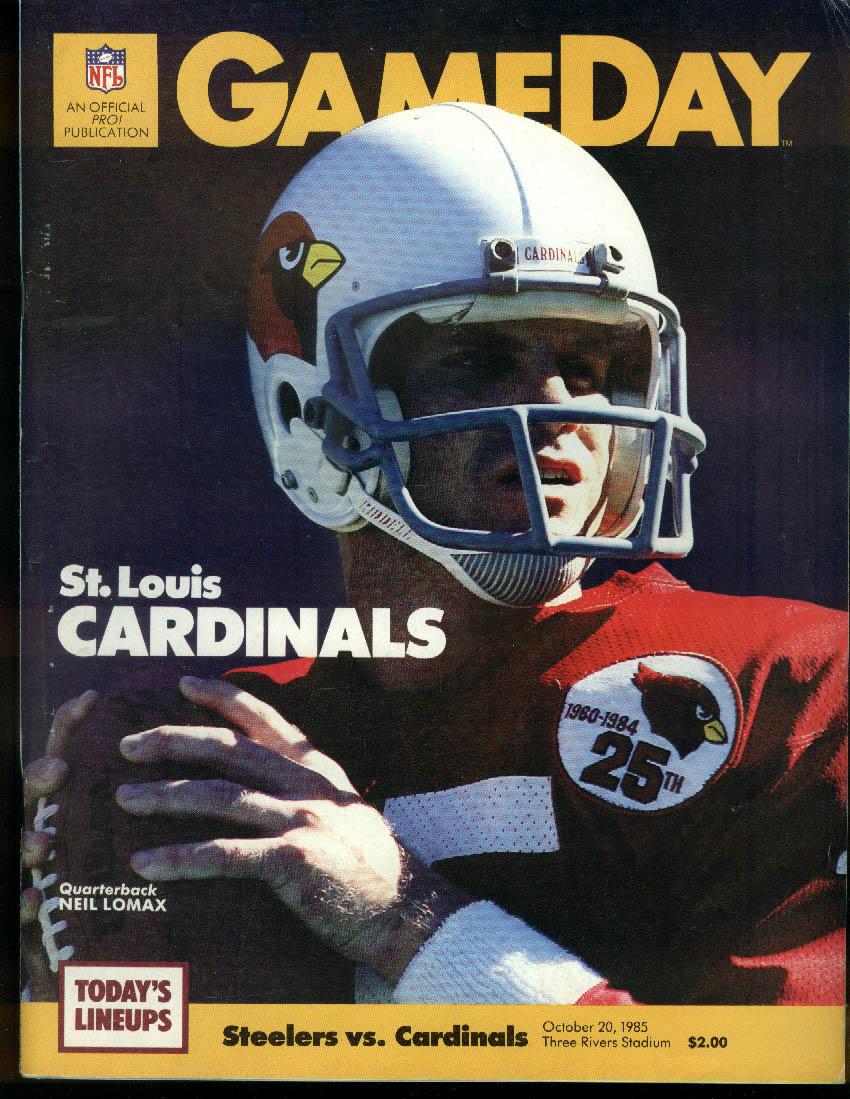 NFL GAMEDAY Program Magazine Cardinals at Steelers 10/20 1985