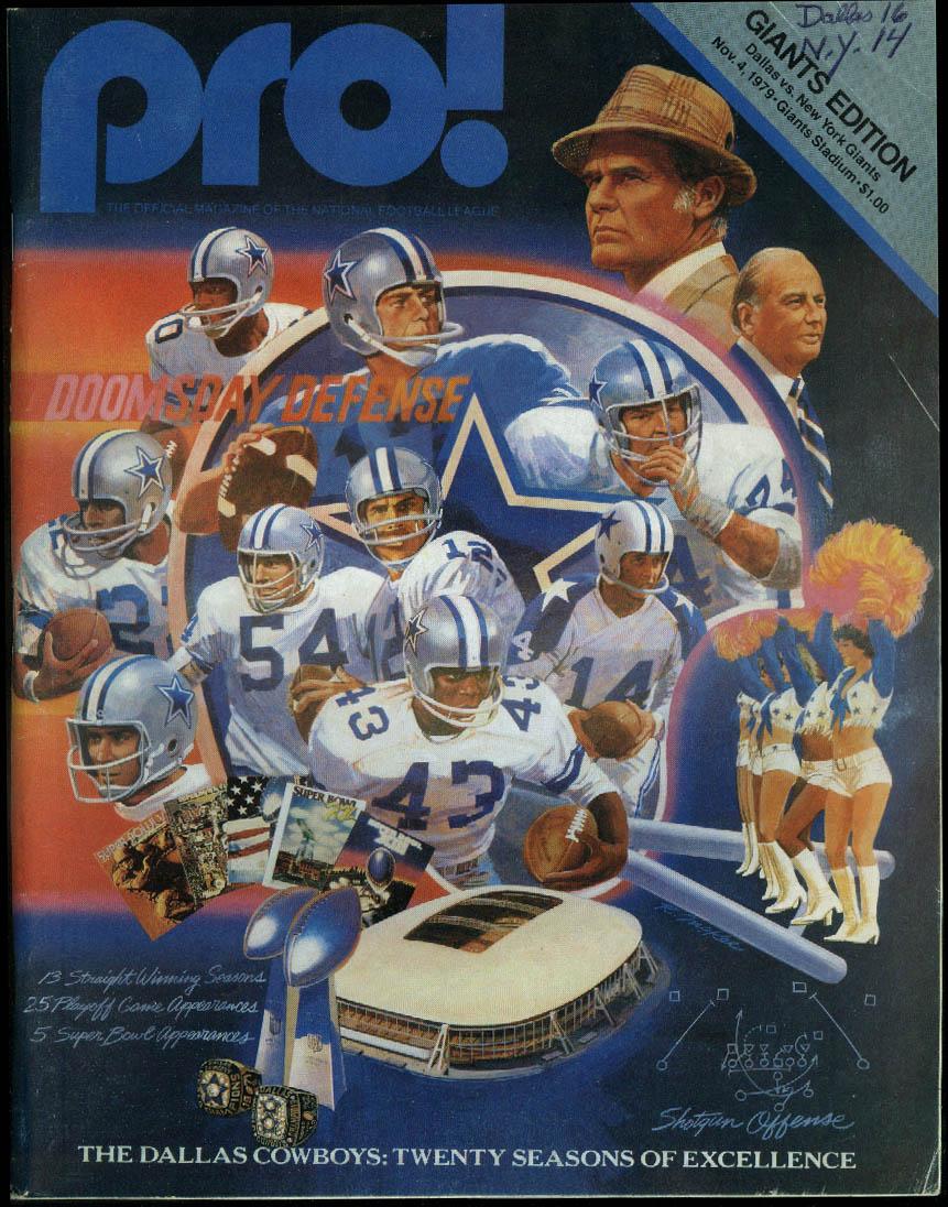 PRO! NFL Program Magazine Cowboys at Giants 11/4 1979