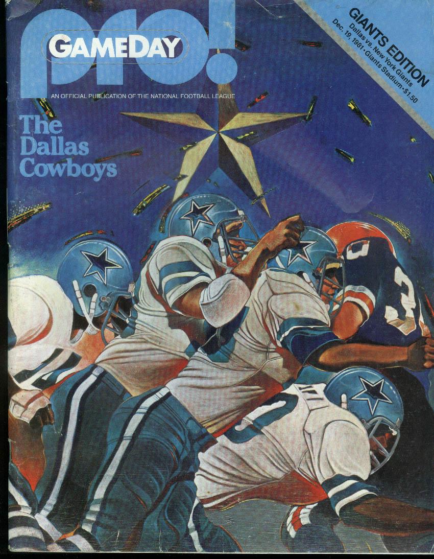 PRO! GAMEDAY NFL Program Magazine Cowboys at Giants 12/19 1981