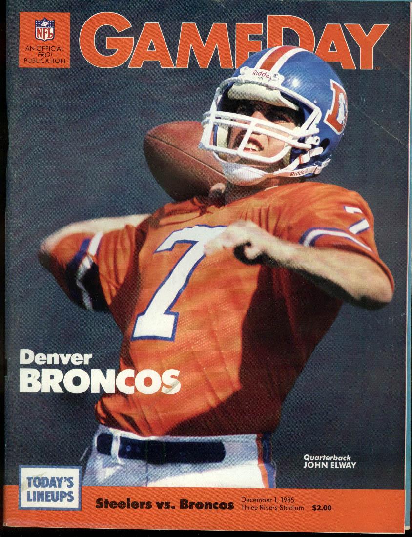 NFL GAMEDAY Program Magazine Broncos at Steelers 12/1 1985