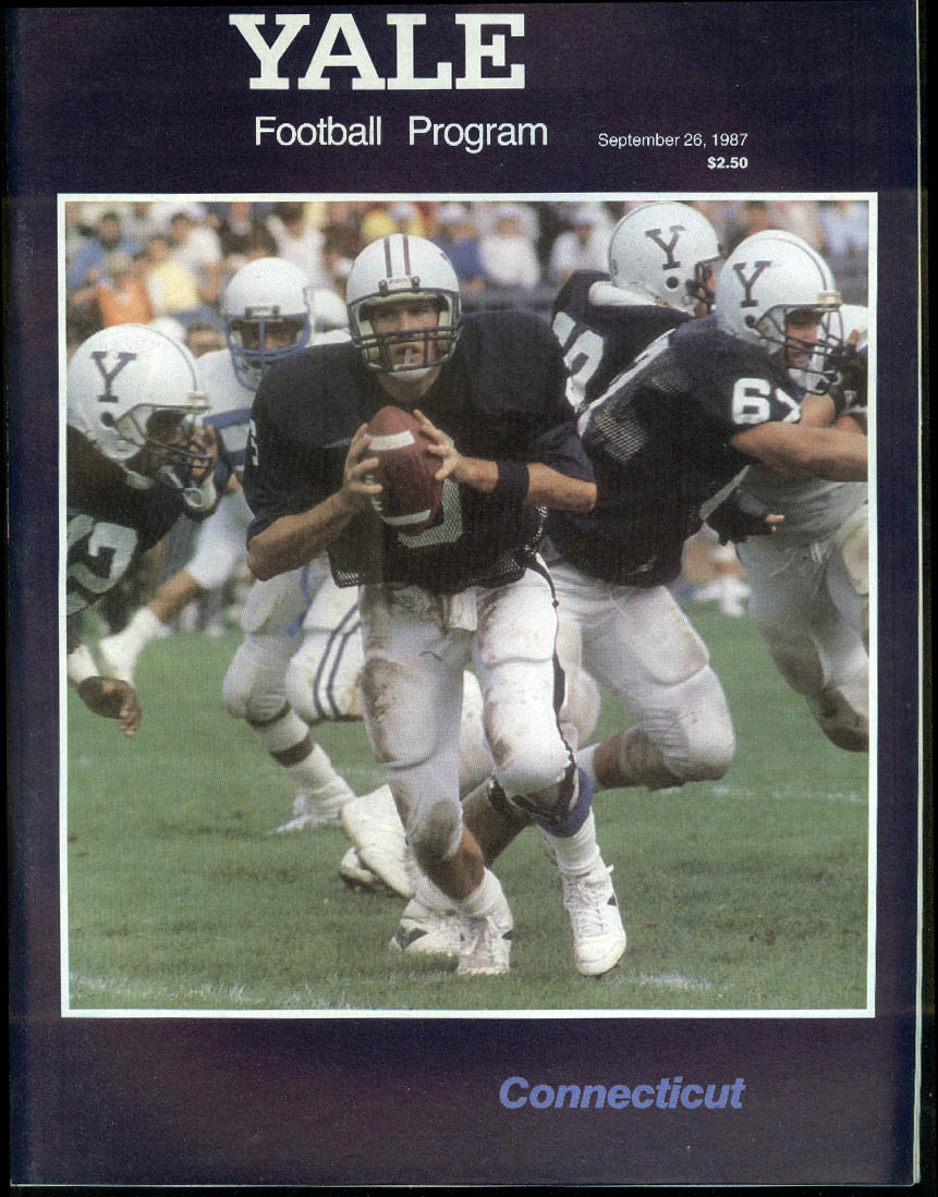 University of Connecticut UConn at Yale Football Program 9/26 1987