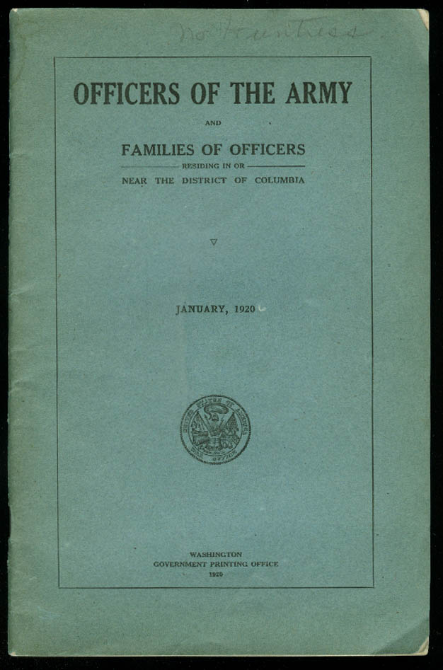 Officers of the US Army & Families in / near District of Columbia 1920