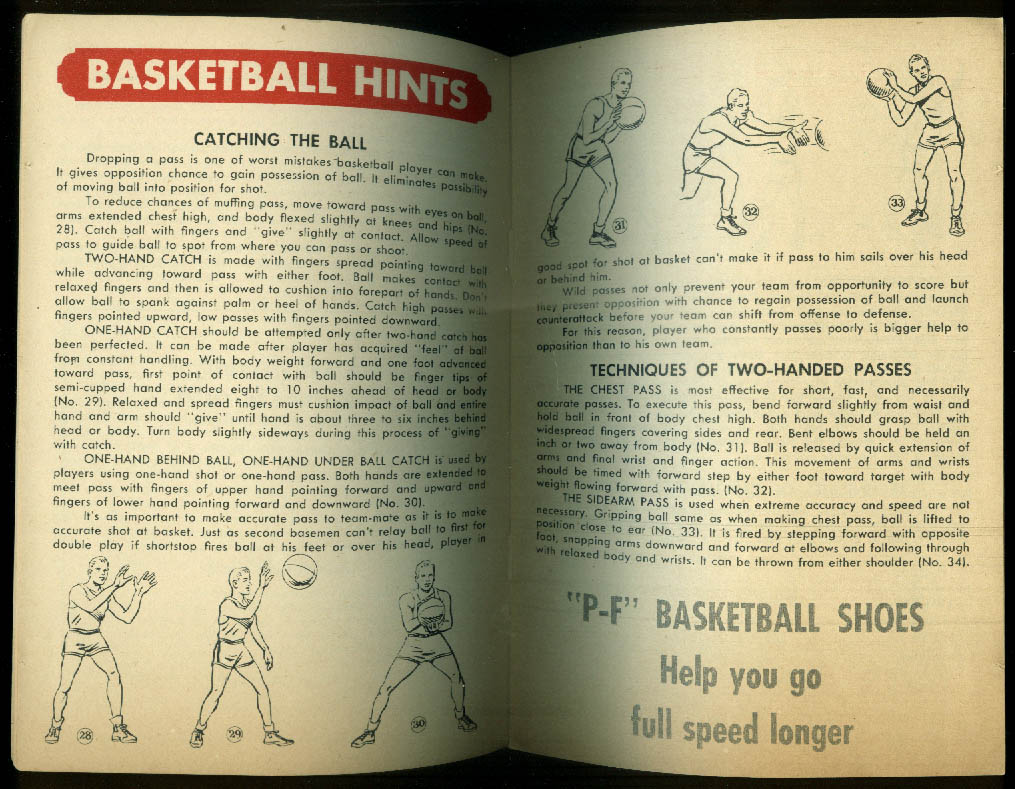 Hood Rubber Football Tips & Basketball Hints booklet 1952-1953 P-F Flyers
