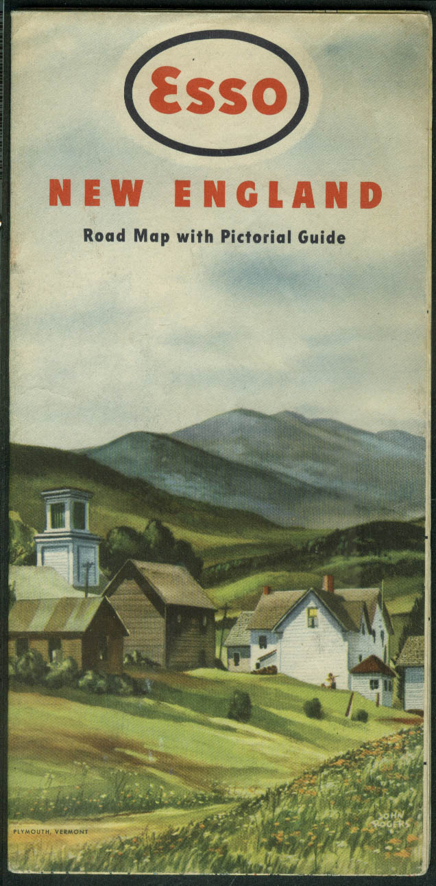 Esso Gasoline Road Map & Pictorial Guide New England 1949