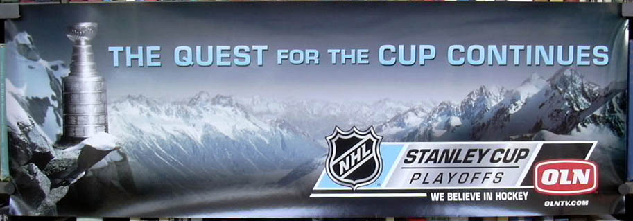 Quest for the Stanley Cup Continues playoffs poster NHL OLN TV ca 2002
