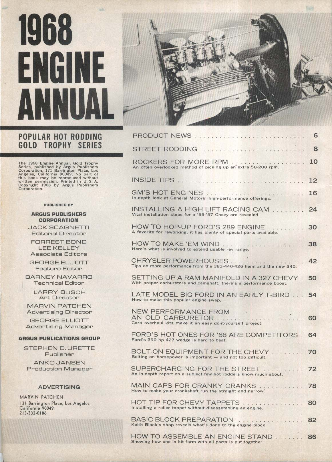 ENGINE ANNUAL 1968 Ford 289 Chevy 327 Hemi Ram Manifold