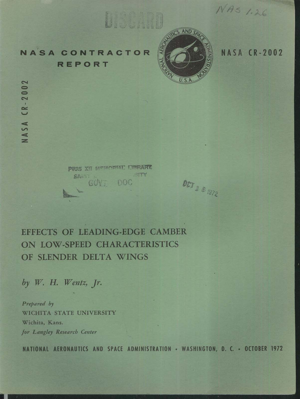 NASA Contractor Report CR-2002 Leading-Edge Camber on Delta Wings + 10 1972