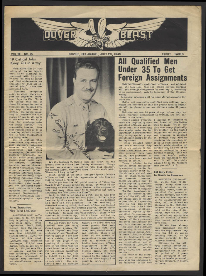 Image for DOVER BLAST 7/20 1945 Dover Army Air Base DE newspaper