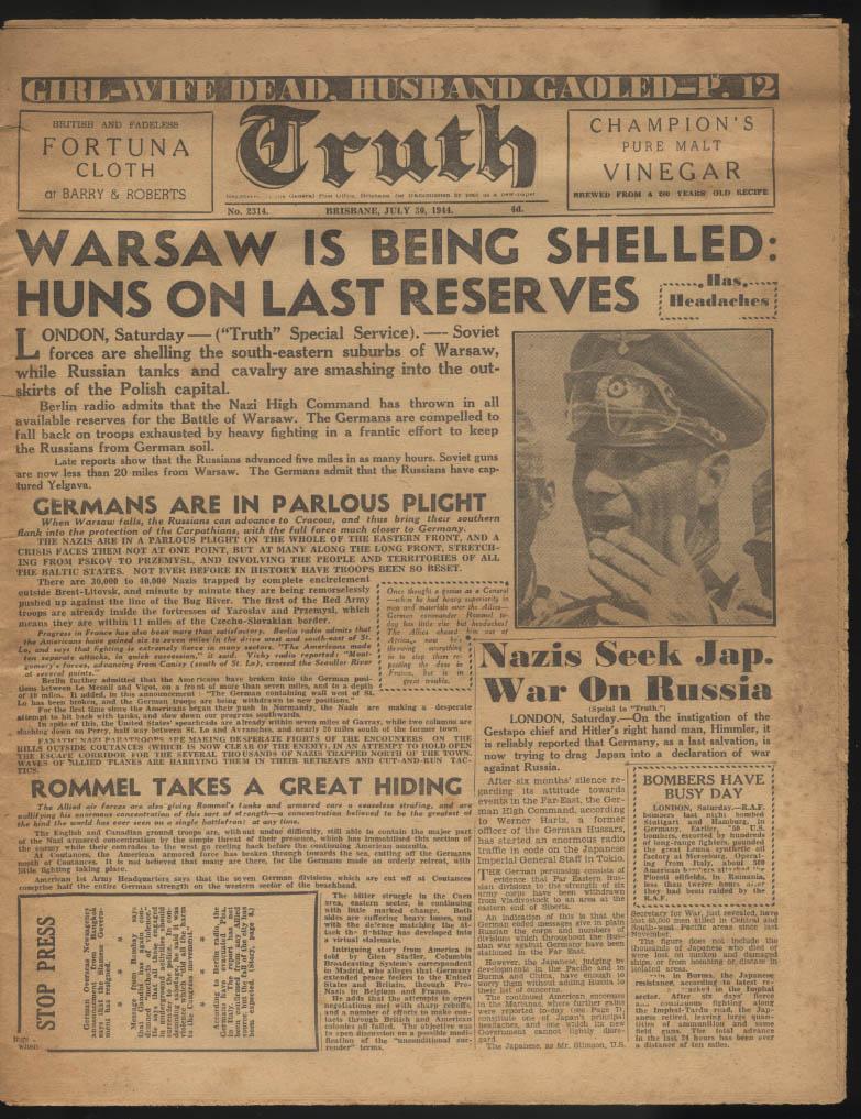 Image for TRUTH Brisbane Australia tabloid 7/30 1944 Warsaw Shelled; Rommel strafed