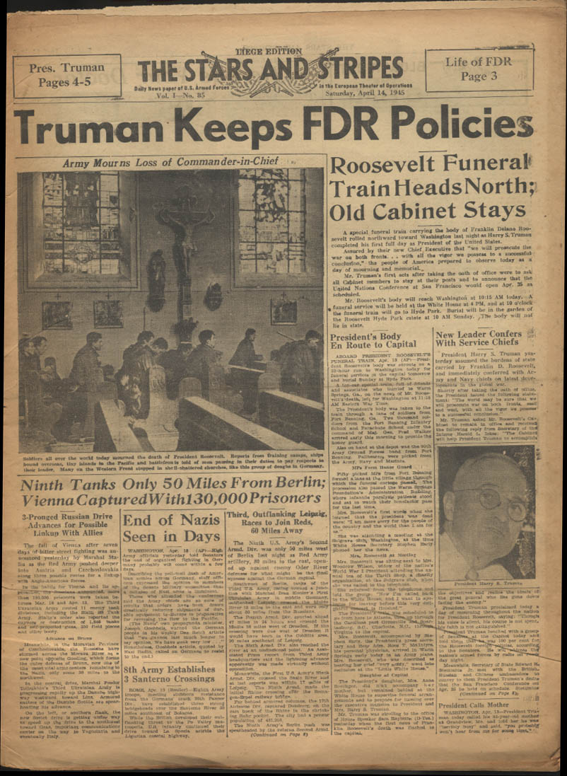 Image for STAR & STRIPES Liege edition 4/14 1945: Truman; 9th Tanks; FDR Funeral
