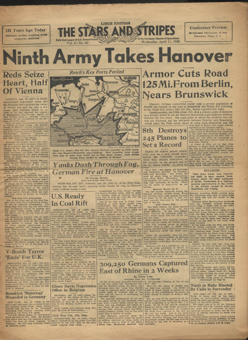 Image for STAR & STRIPES Liege edition 4/11 1945 9th Army takes Hanover; 8th AF downs 245