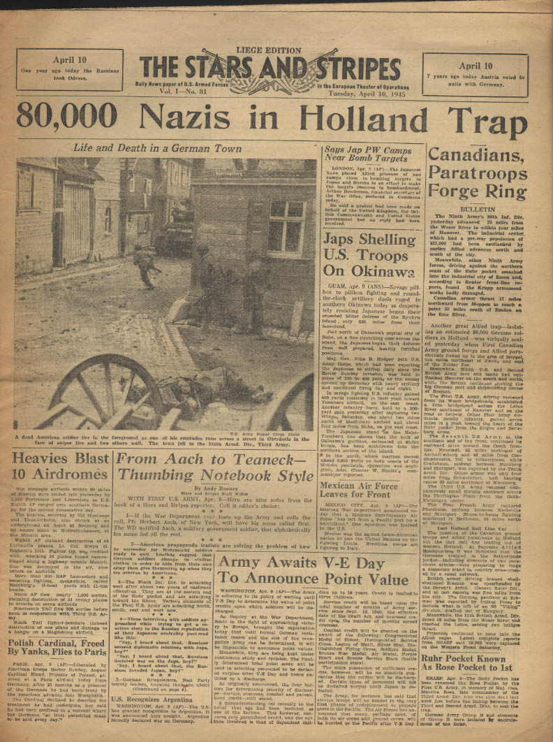 Image for STAR & STRIPES Liege edition 4/10 1945 80K Nazis in Holland Trap; Okinawa