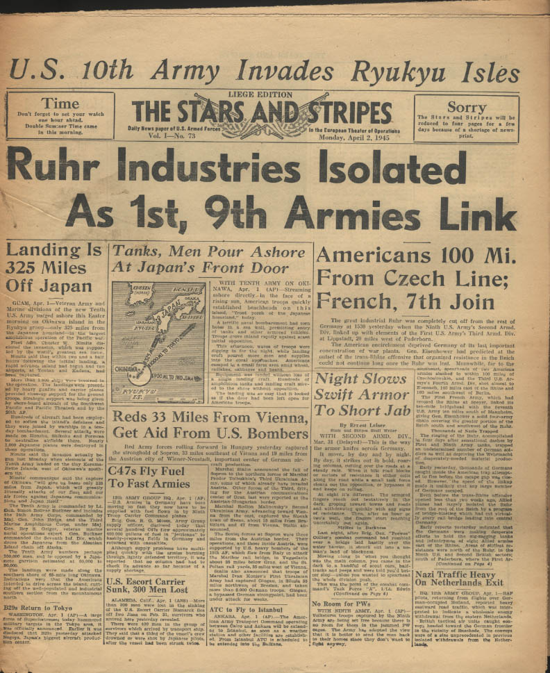 Image for STAR & STRIPES Liege edition 4/2 1945 1st & 9th link up; Okinawa; 10th at Ryuku