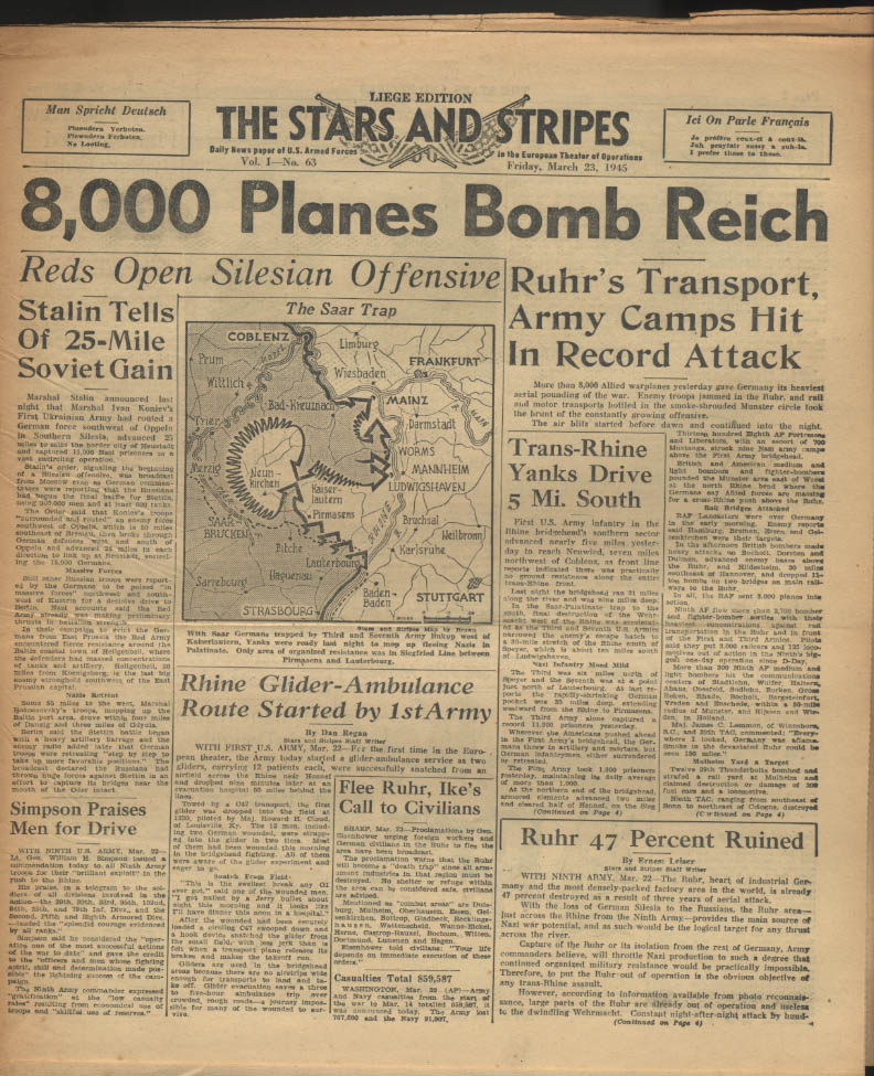 Image for STAR & STRIPES Liege edition 3/23 1945 8000 planes bomb Reich; Reds at Silesia