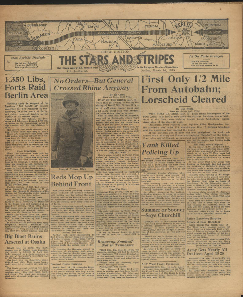 Image for STAR & STRIPES Liege edition 3/16 1945 1st Army at Autobahn Gen Hoge at Rhine