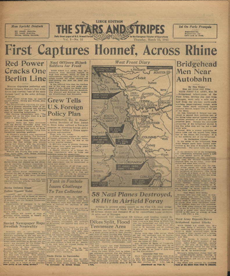 Image for STAR & STRIPES Liege edition 3/15 1945 1st takes Honnef Nazi planes hit at Lippe