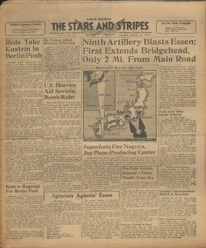 Image for STAR & STRIPES Liege edition 3/13 1945 9th blasts Essen; B-29s hit Nagoya