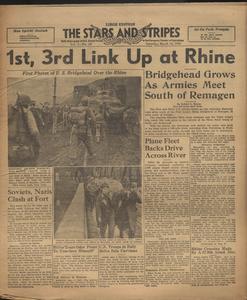 Image for STAR & STRIPES Liege edition 3/10 1945 1st 3rd at Rgine Reds v Nazis at Fort