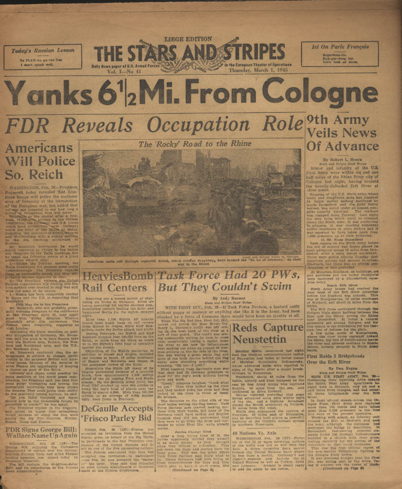 Image for STAR & STRIPES Liege edition 3/1 1945 FDR on Occupation; 9th nears Cologne