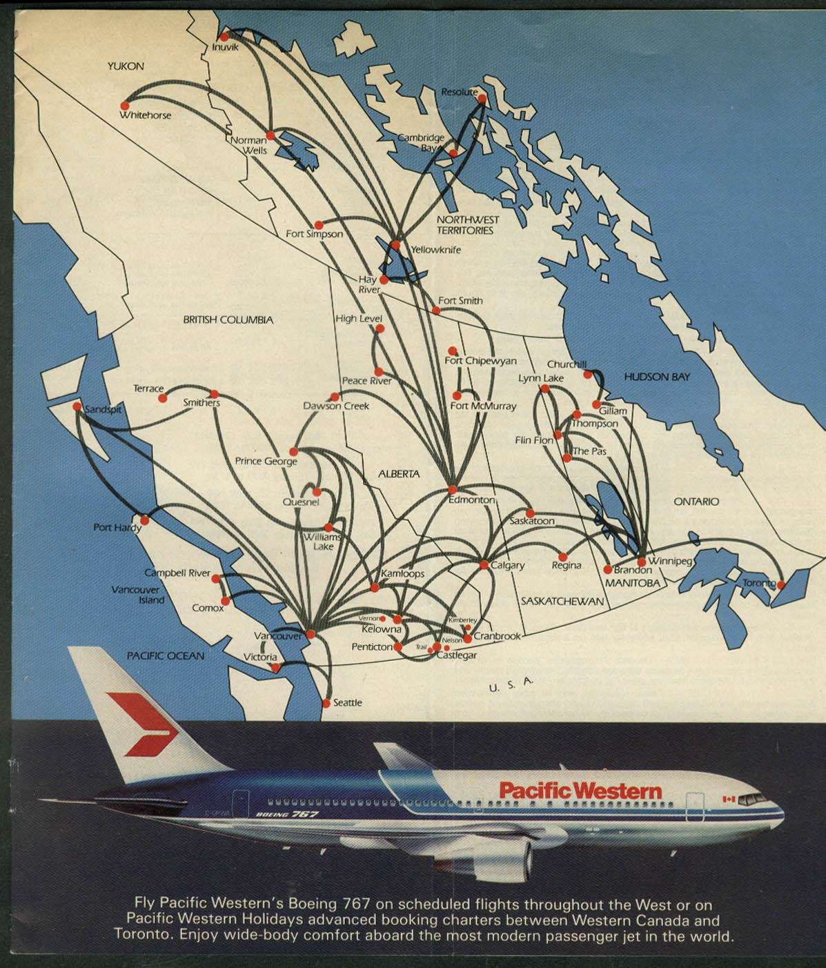 Pacific Western Airlines airline timetable 6/15 1983