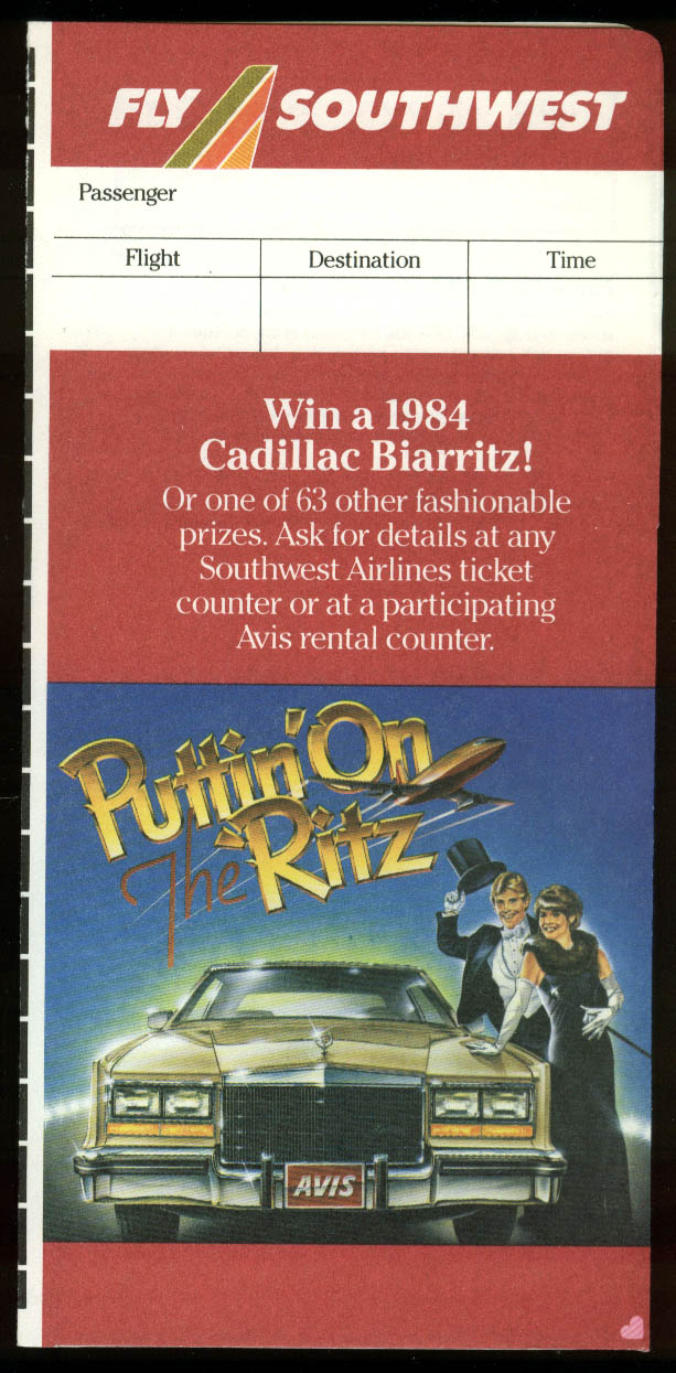 Southwest Airlines airline ticket wallet wrapper Win 1984 Cadillac Biarritz