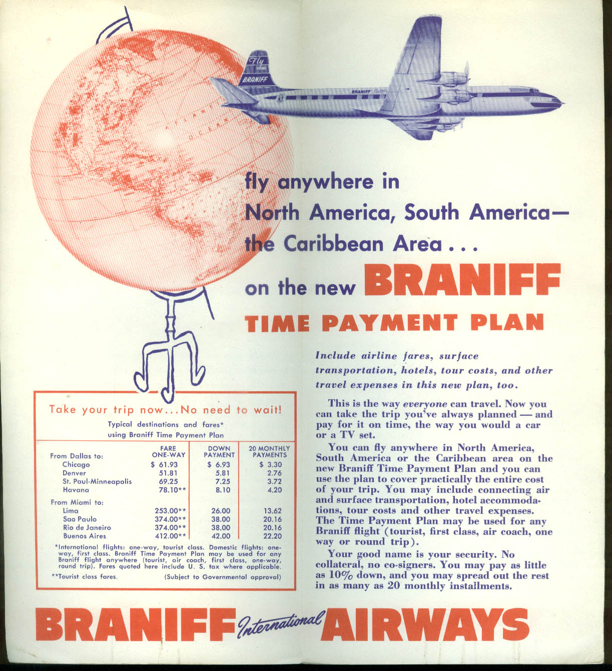 Braniff International Airways Time Payment Plan airline folder 1950s