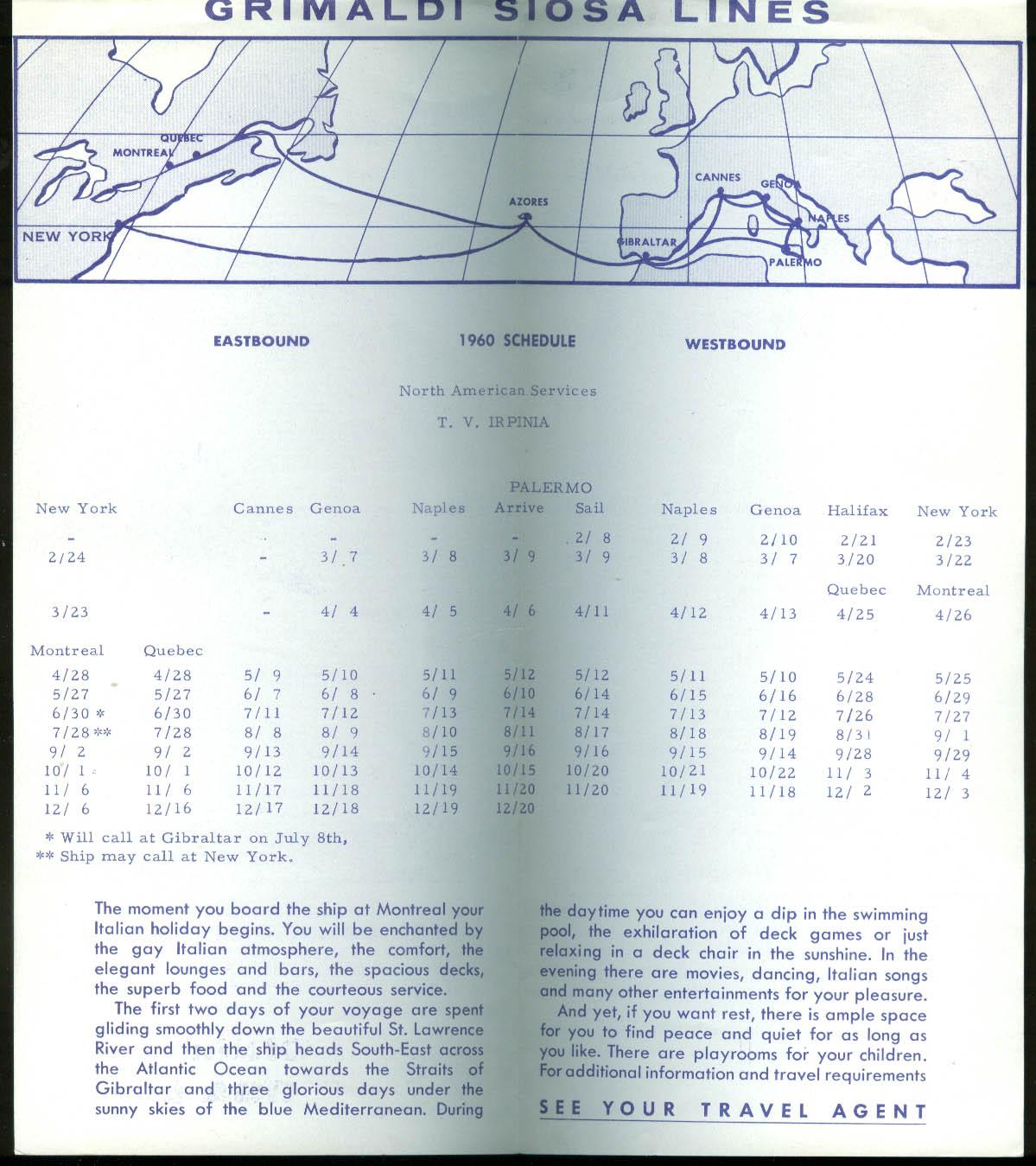 Grimaldi Siosa Lines T V Irpina ocean liner schedule 1960 N America-Italy