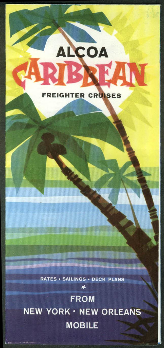 Alcoa Steamship Caribbean cargo freighter cruises brochure & deck plan 1950s