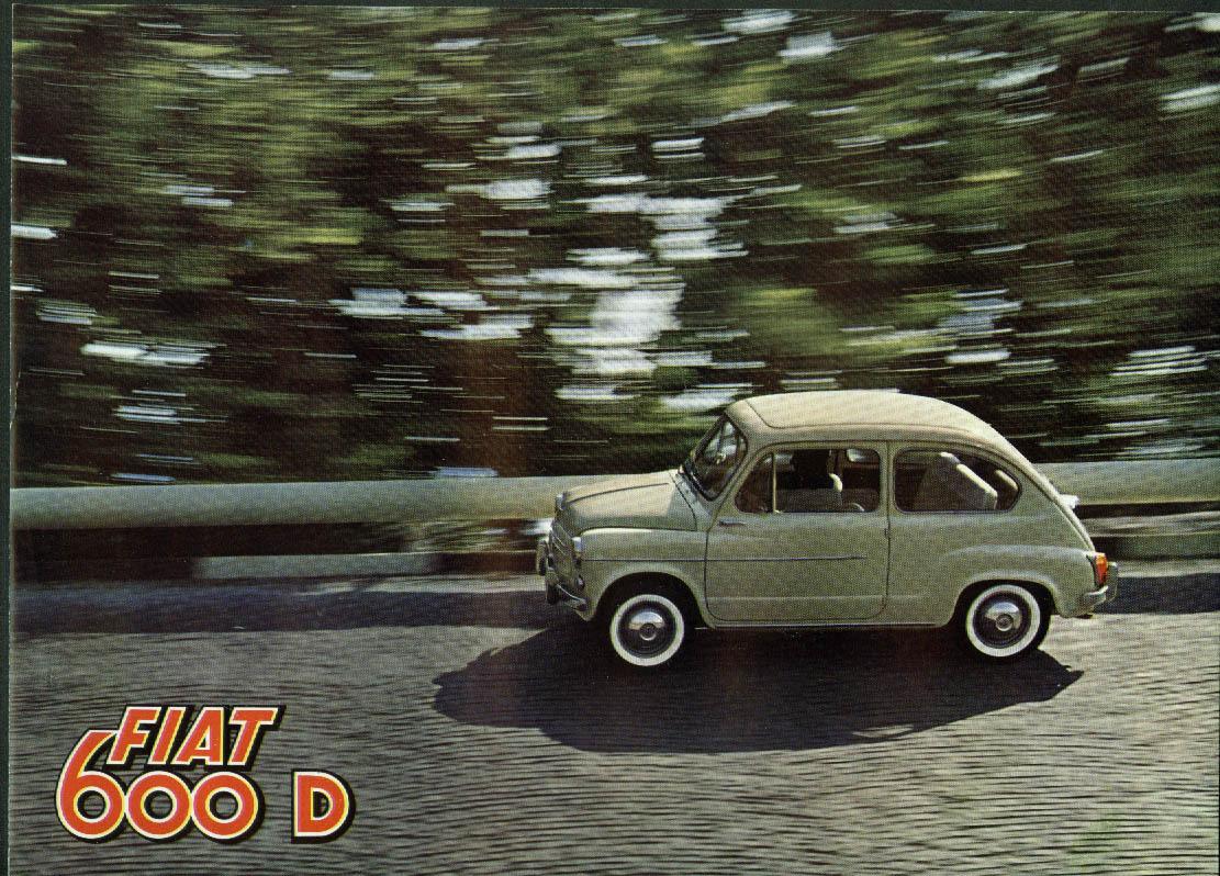 """1965 Fiat 600 D 11 x 7 3/4"""" 4-page sales brochure"""
