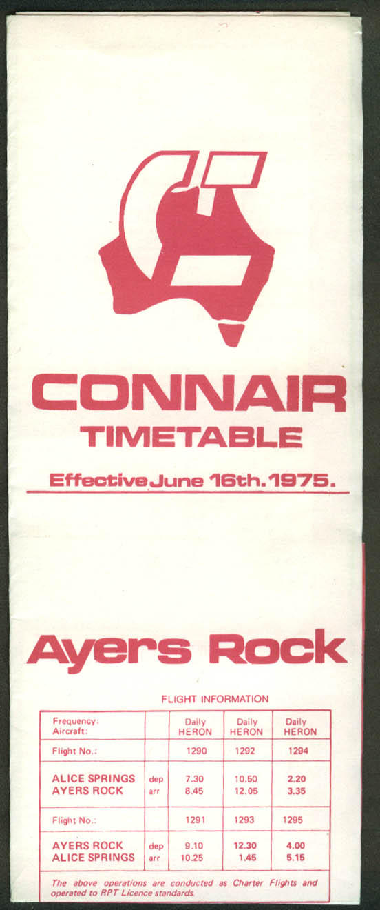 Connair Airways airline timetable Ayers Rock 6/16 1975