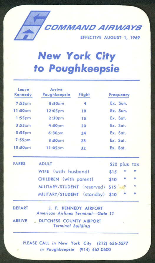 Command Airways airline timetable card New York City-Poughkeepsie 8/1 1969