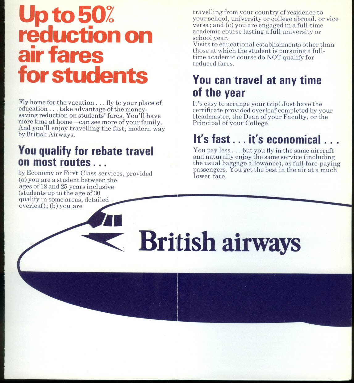 British Airways Reduced Fares for Students airline folder 1973