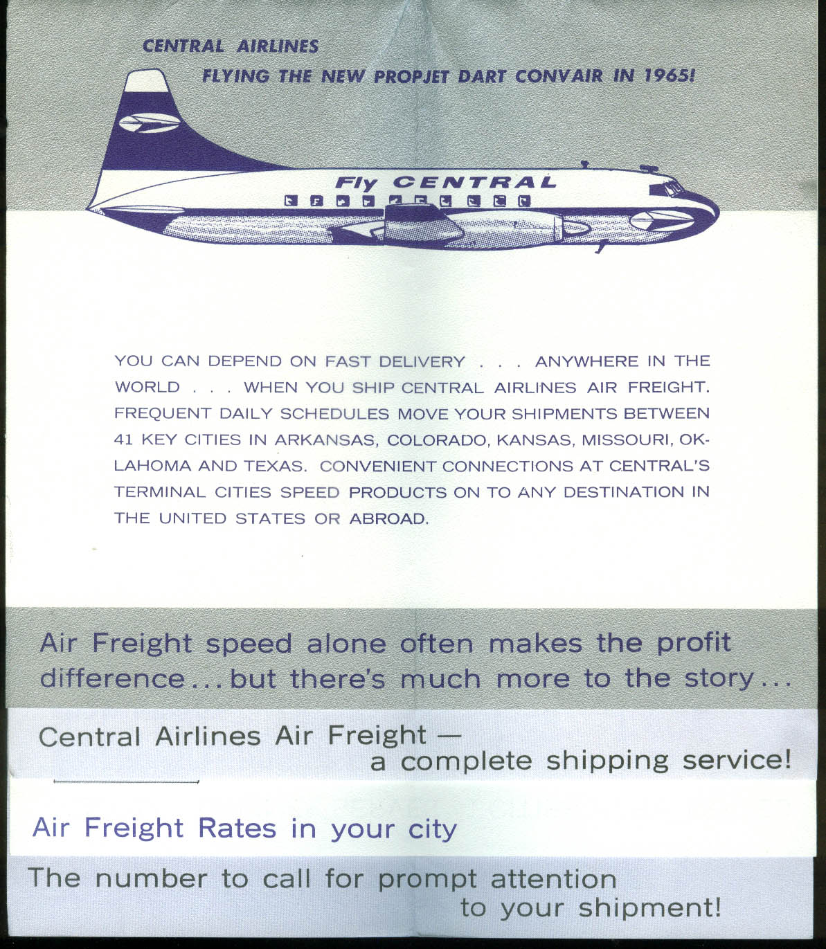 Central Airlines How Airfreight Pays Convair Propjet Dart 1965 airline brochure