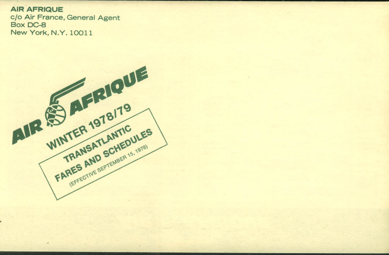 Air Afrique airline timetable 9/15 1978 - 3/31 1979