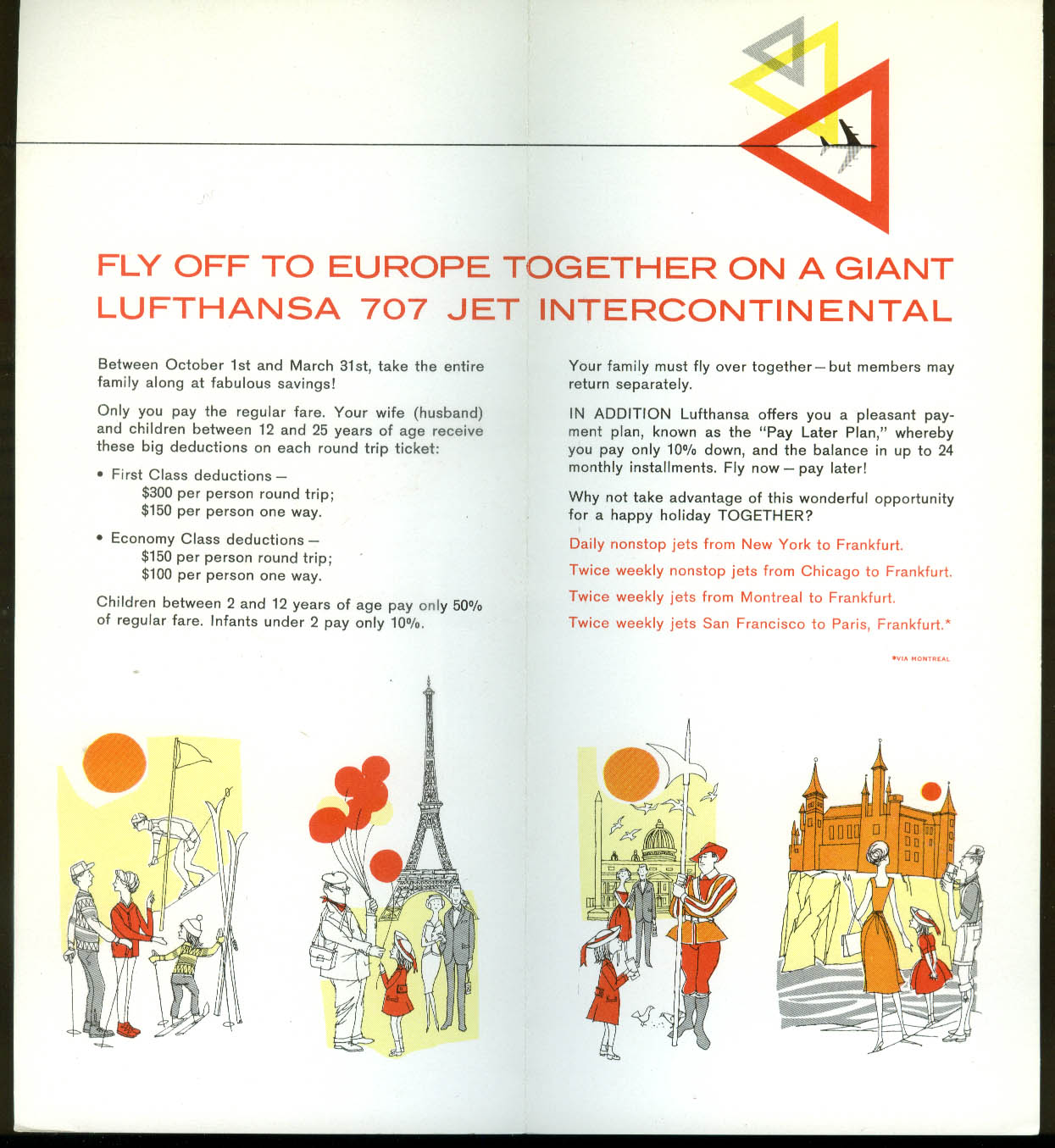 Lufthansa German Airlines Family Pan airline folder 1960