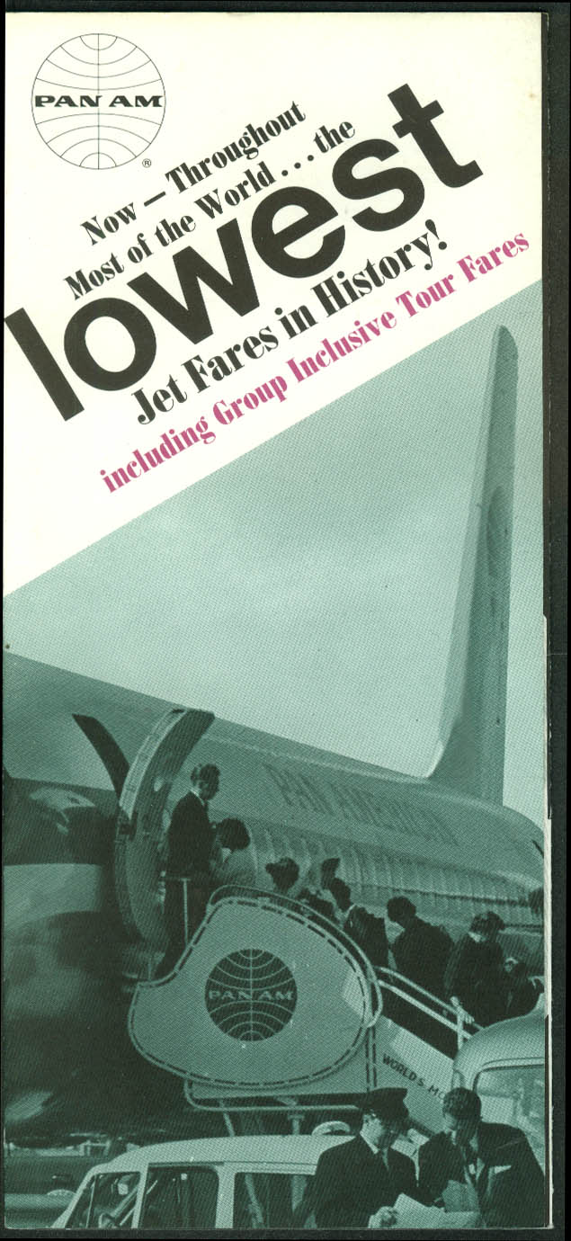 Pan American World Airways Lowest Jet Fares in History airline folder 1967