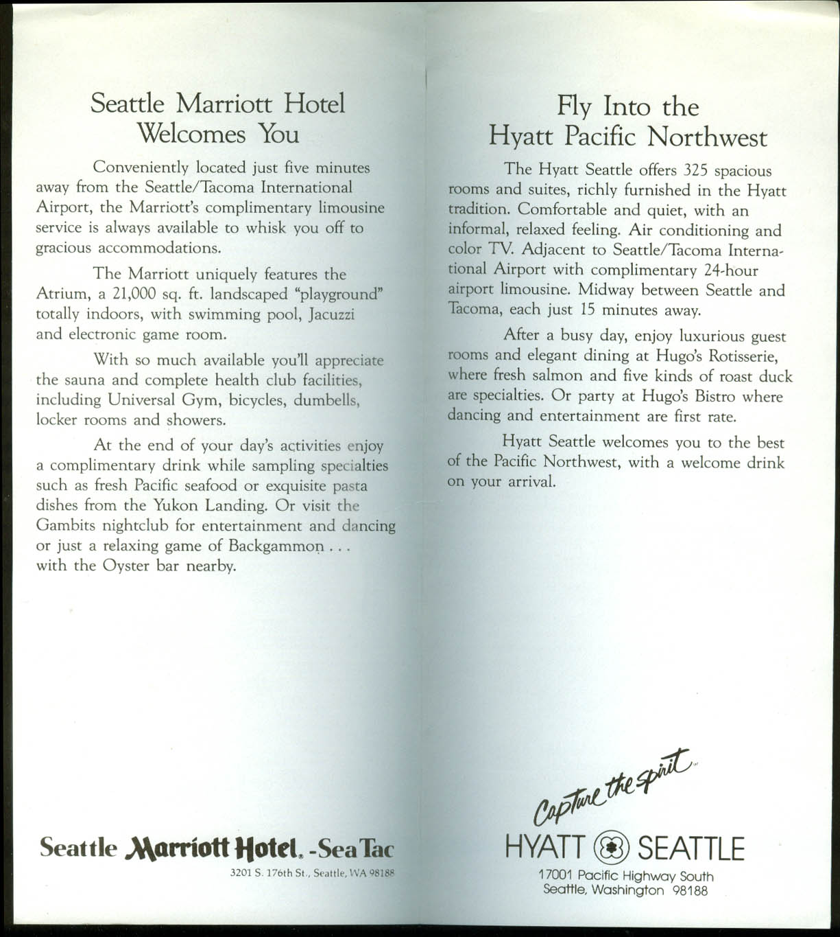 Thai Airlines Sleeper $45.95 Seattle Hotel Special timetable airline folder 1983