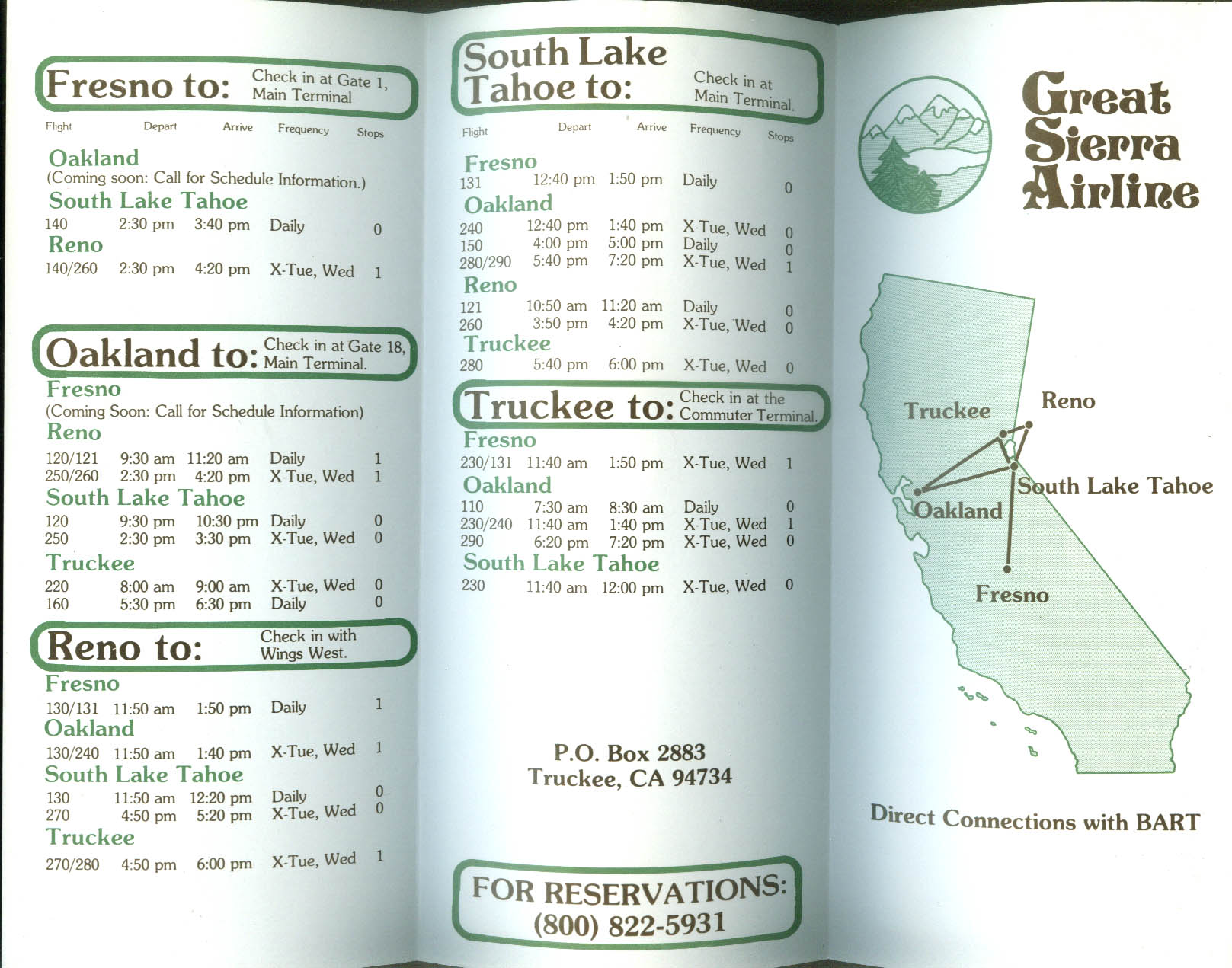 Great Sierra Airline timetable 1980 Oakland-Fresno-Truckee-Reno-Tahoe