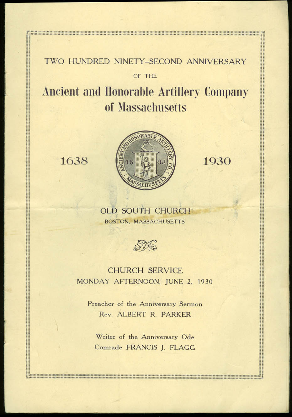 Ancient & Honorable Artillery Company of Massachusetts 292nd Anniv prgm 1930