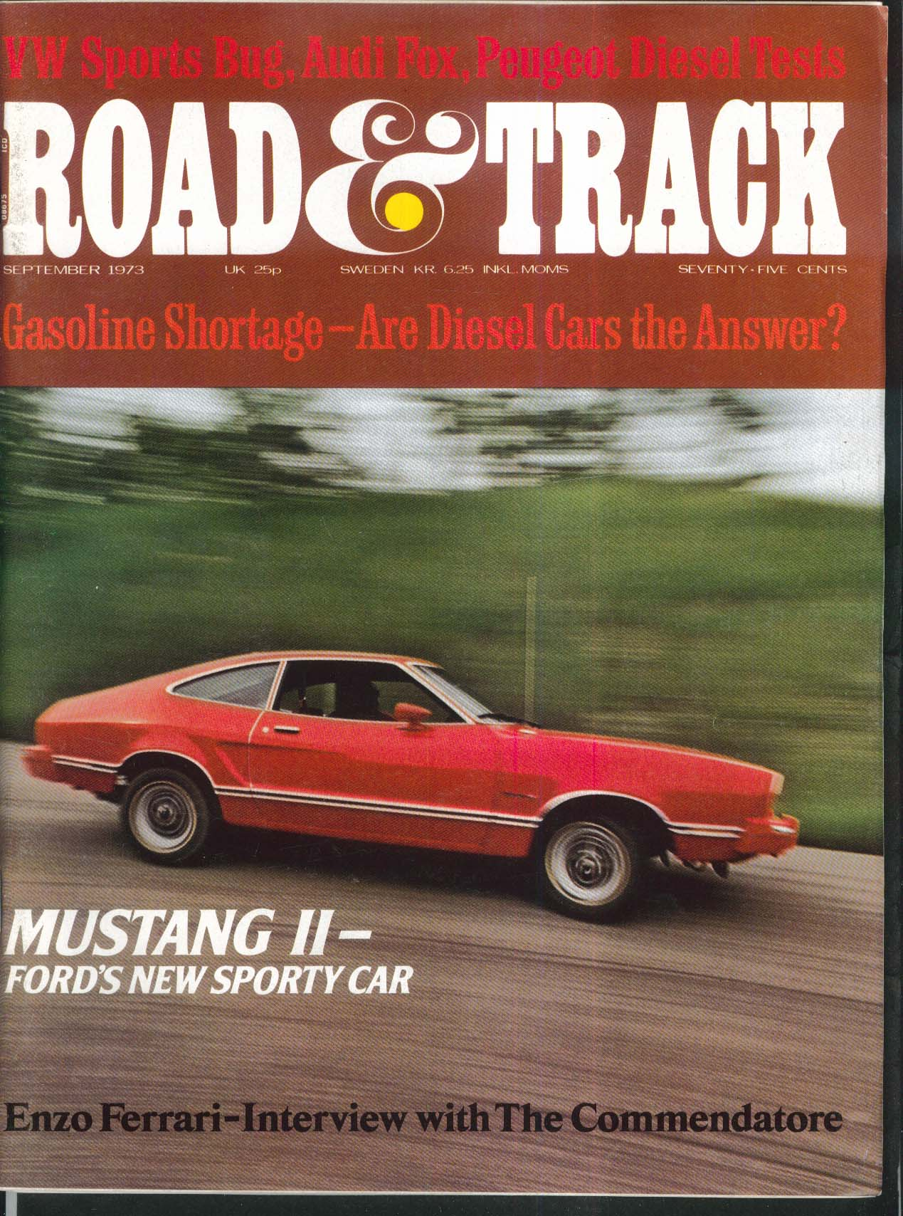 ROAD & TRACK Ford Mustang II Audi Fox Peugeot 504 Volkswagen Beetle tests 9 1973