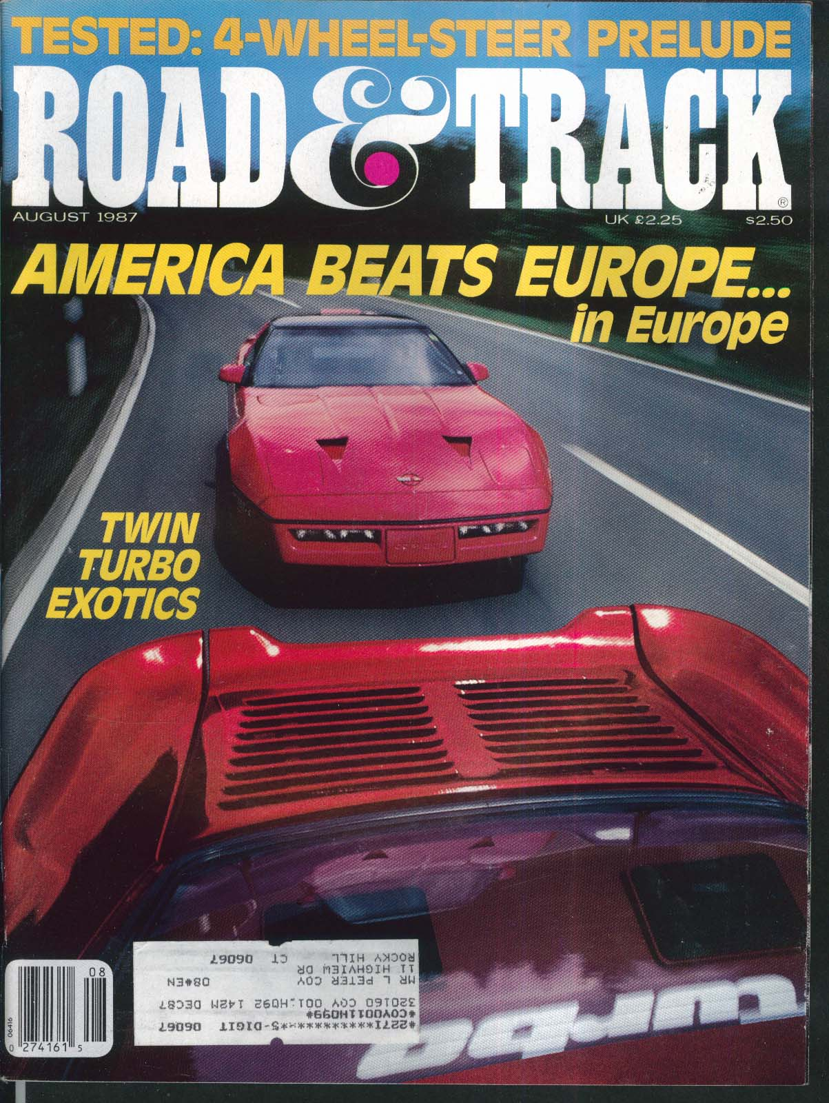 ROAD & TRACK Honda Prelude Ford Thunderbird Peugeot 505 STX road test 8 1987