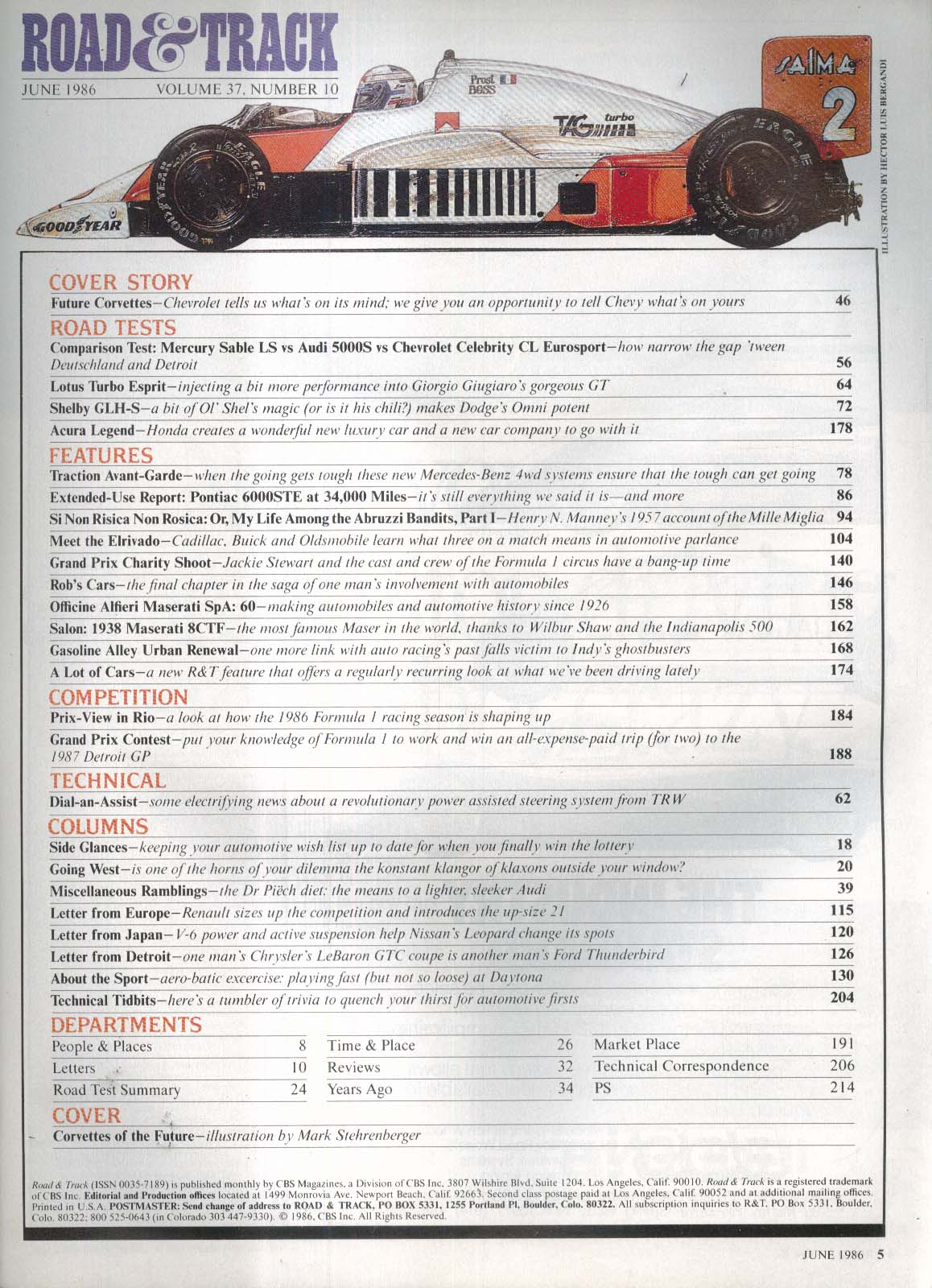 ROAD & TRACK Corvette Lotus Turbo Esprit Shelby Acura Legend road tests 6 1986