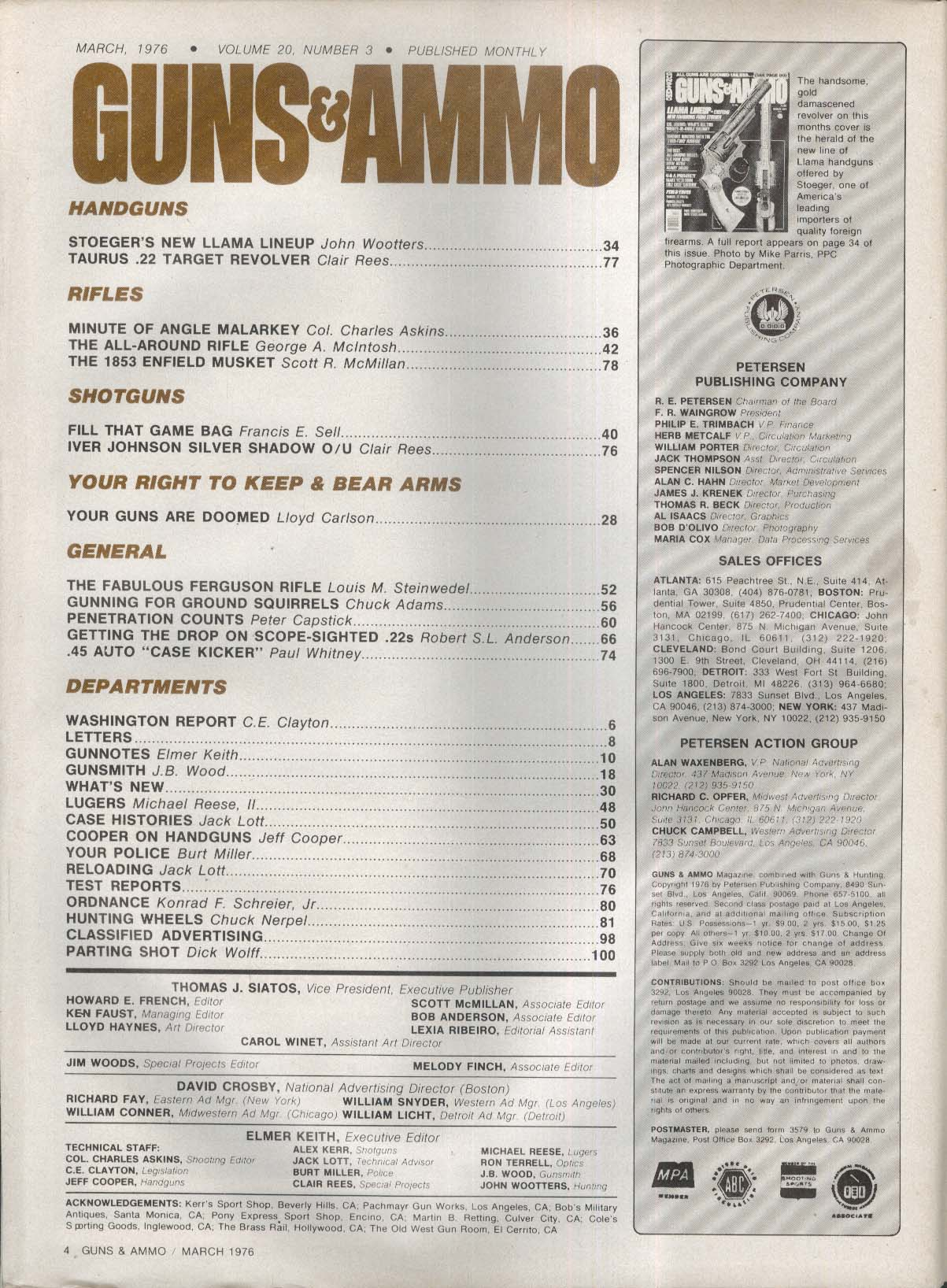 GUNS & AMMO Stoeger Llama Taurus Askins Varmint 1853 Enfield Iver Johnson 3 1976