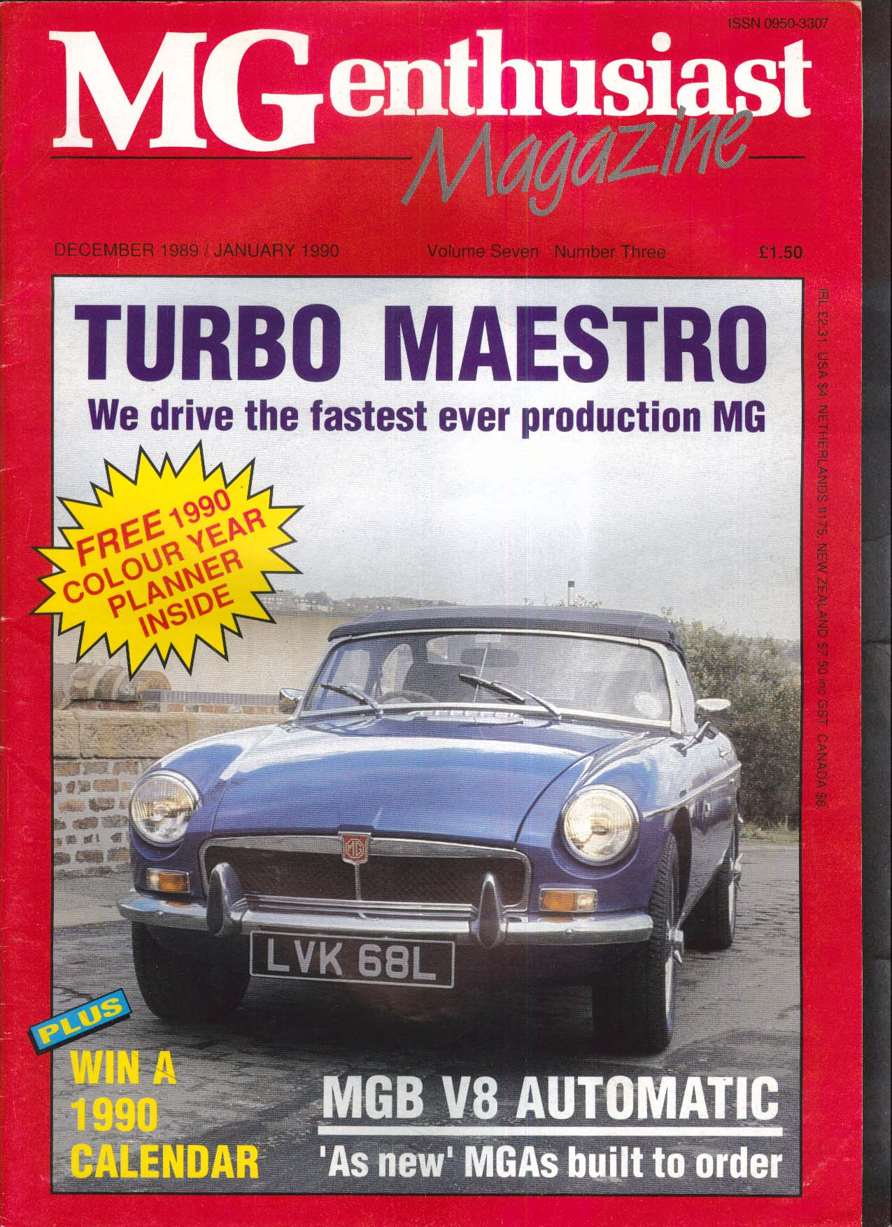 MG ENTHUSIAST Turbo Maestro MGB V8 Automatic MGA 12 1989-1 1990