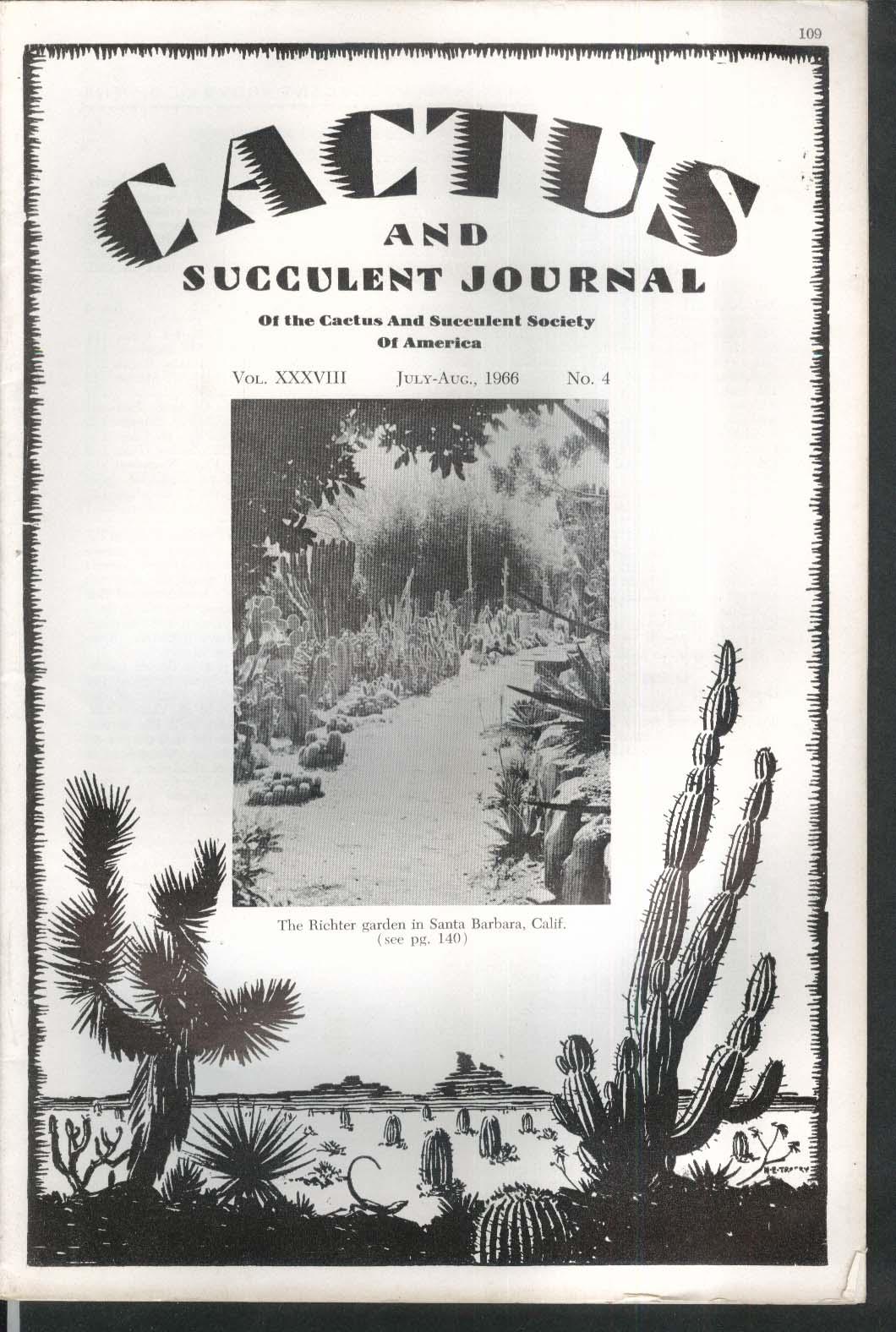CACTUS Succulent Journal Richter Mona Island Bolivian Cactaceae 7-8 1966