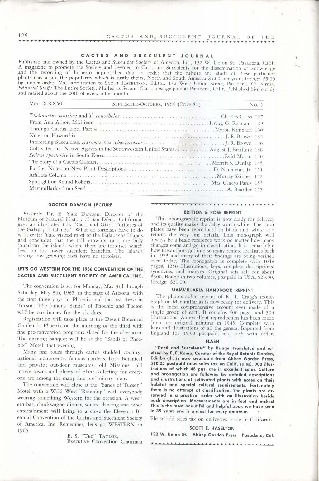 CACTUS Succulent Journal Thelocactus saussieri Sedum spectabile 9-10 1964