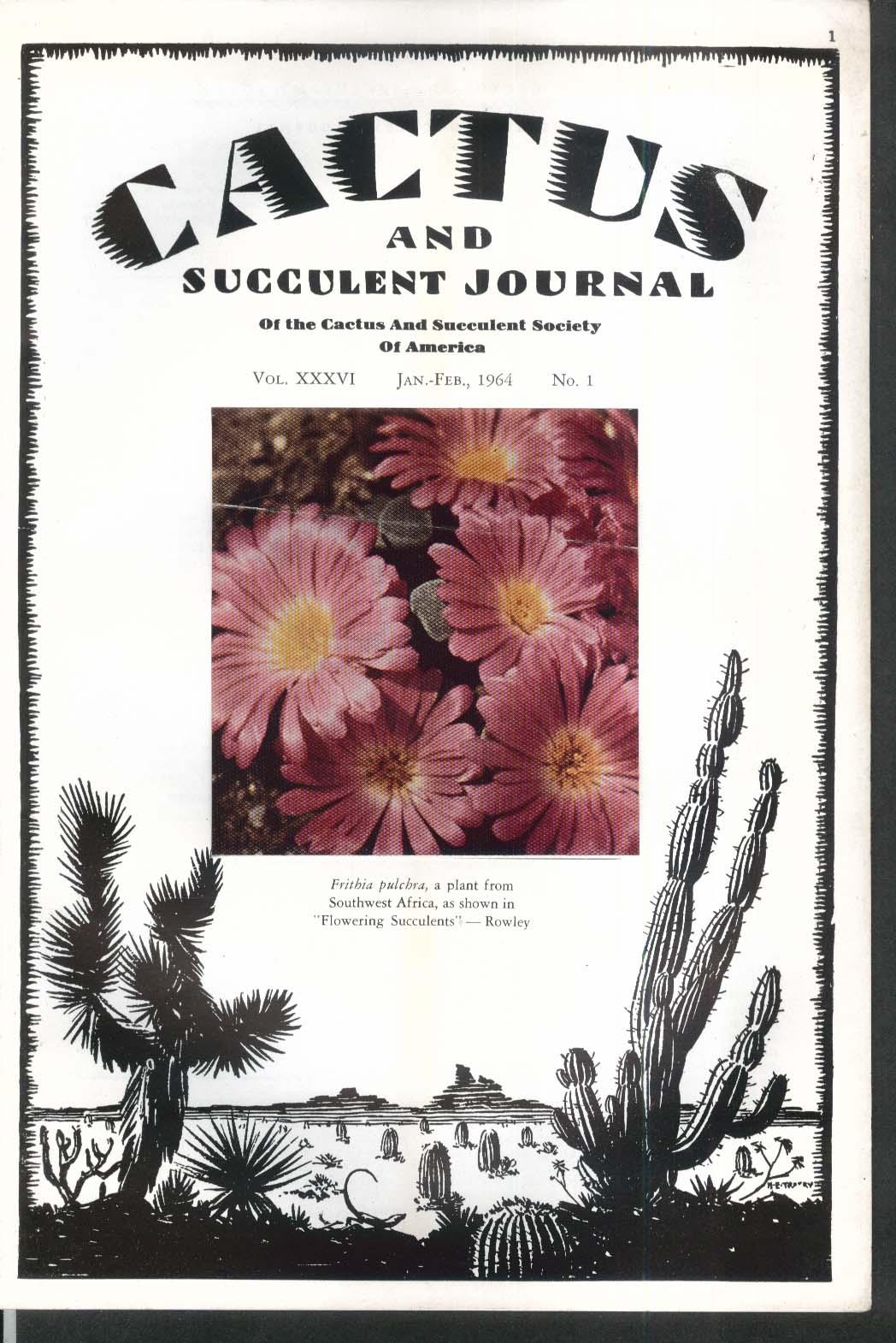 CACTUS Succulent Journal Frithia pulchra 1-2 1964